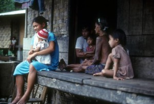 Luzon, Philippines - April 15, 1983: A Filipino family at home.
