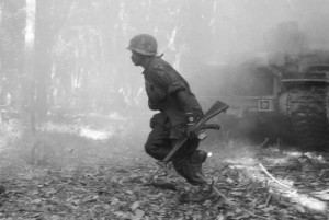 A Soldier Moves In Dau Tieng Dist., Binh Doung Prov., South Vietnam - March 17, 1969: Moving in on the enemy.