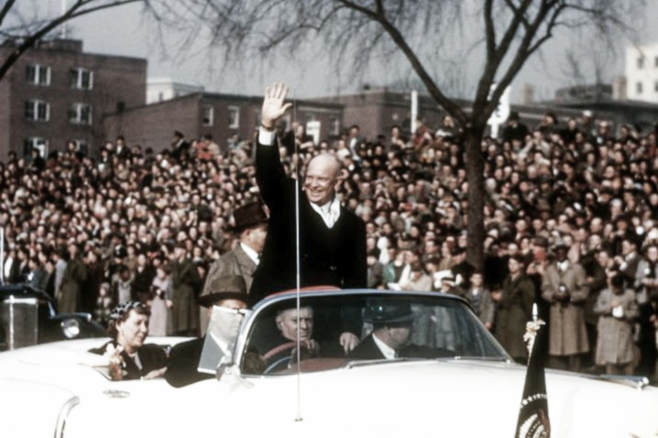 Washington, D. C. - January 20, 1953: President Eisenhower and Mamie in an open convertible. Photo courtesy of Capt. W. M. Arps, USN Ret.