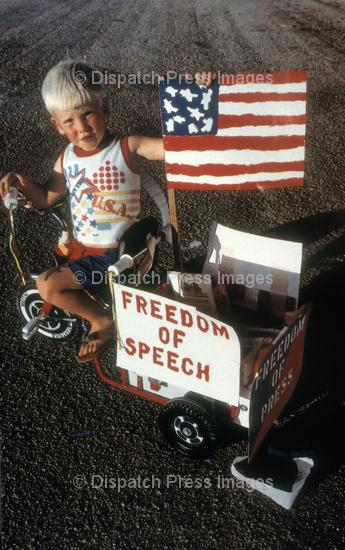 A youngster defending the First Amendment at a Vietnam anti-war demonstration (June 30, 1969).