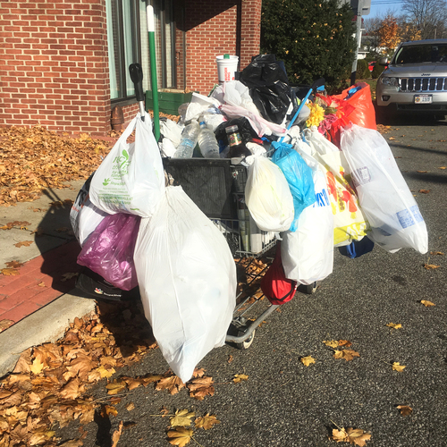 A homeless person's shopping cart. West Islip, N. Y. (Nov.19, 2016). Photo by Mike Lander.