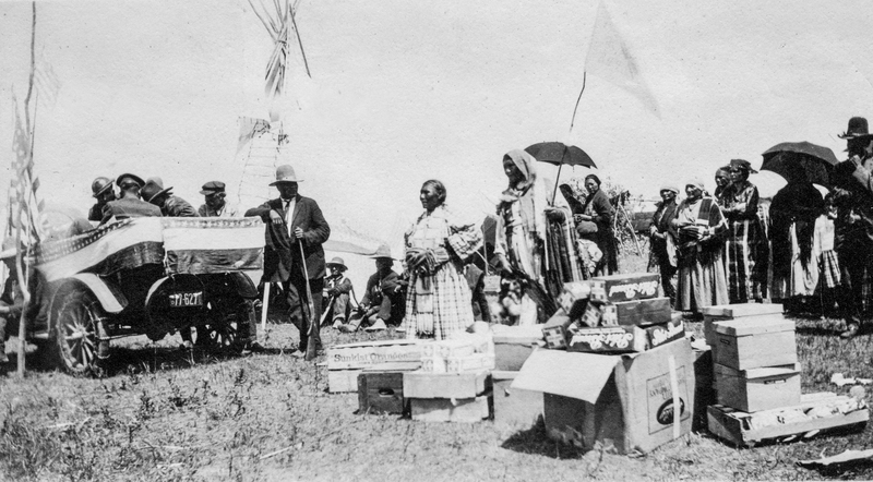 Lakota Nation receiving supplies (August 23, 1923).