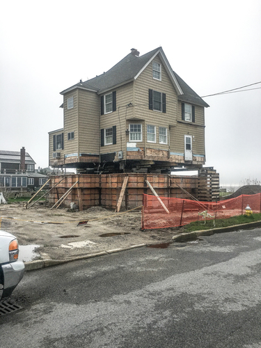 Home overlooking the Great South Bay is having its foundation raised.