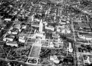 Aerial view of the Texas Tower and surrounding campus c.1940