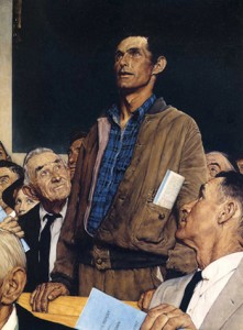 Painting by Norman Rockwell used on the cover of the Saturday Evening Post (February 21, 1943).
