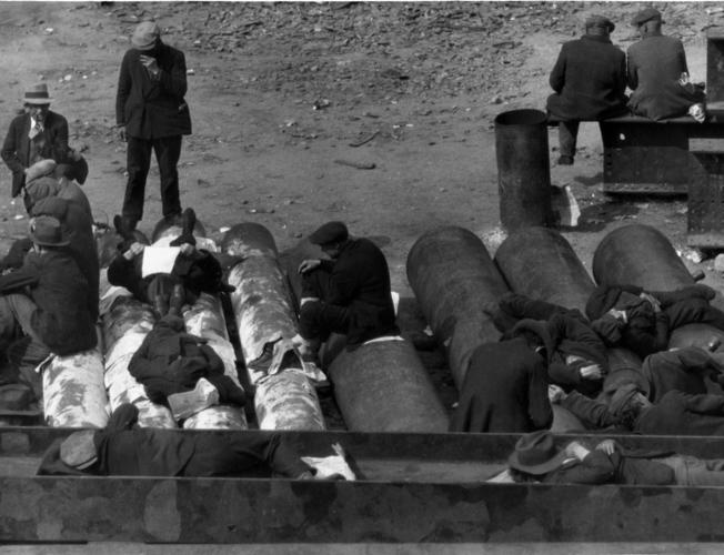 Sleeping on the streets of Manhattan c.1931.