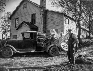Probably the original Hillside Dairy farm before the fire in 1925. Note the dog in the truck window. Great looking mustache as well.