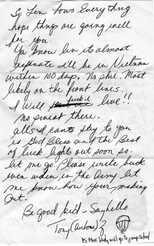 Letter written to Len Alberici, West Babylon, N. Y. from a soldier in Vietnam.Soldier attached to the 25th Infantry Division (Sept. 1, 1968).