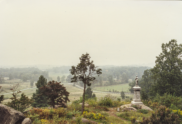 Infantry. Monument to the 155th Pennsylvania on Little Round Top, Gettysburg Battlefield, Gettysburg, Pennsylvania.